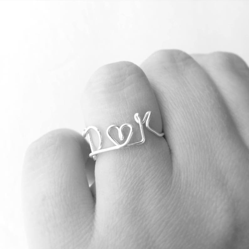 Lovers Initials Wire Work Silver Ring with Heart  Dainty image 0