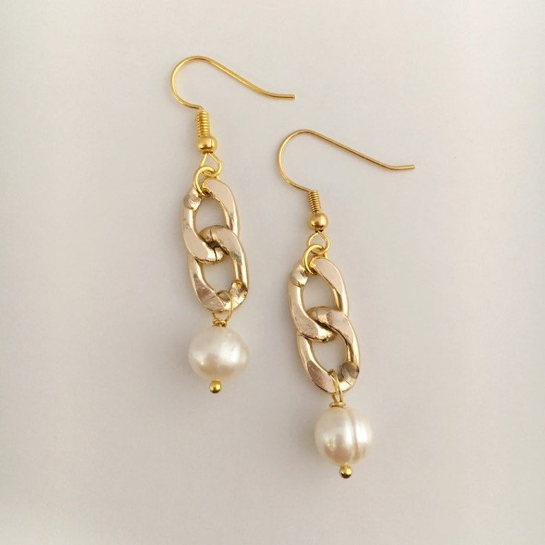 Gold Chain and Pearl Drop Earrings image 0