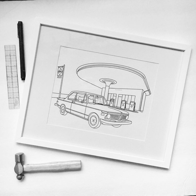 Custom Line Art Car Drawing  Personalized One of a Kind Gift image 0
