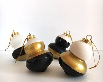 Modern Black, White, and Gold Ornament Set - Hand Painted Bisque Ceramic Minimalist Christmas Ornaments