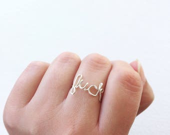 Sterling Silver Wire Work Bad Word Ring | Cuss Curse Swear Words | Back Talk Jewelry | Swearing Will Help | F word Fuck Off Cunt Shit