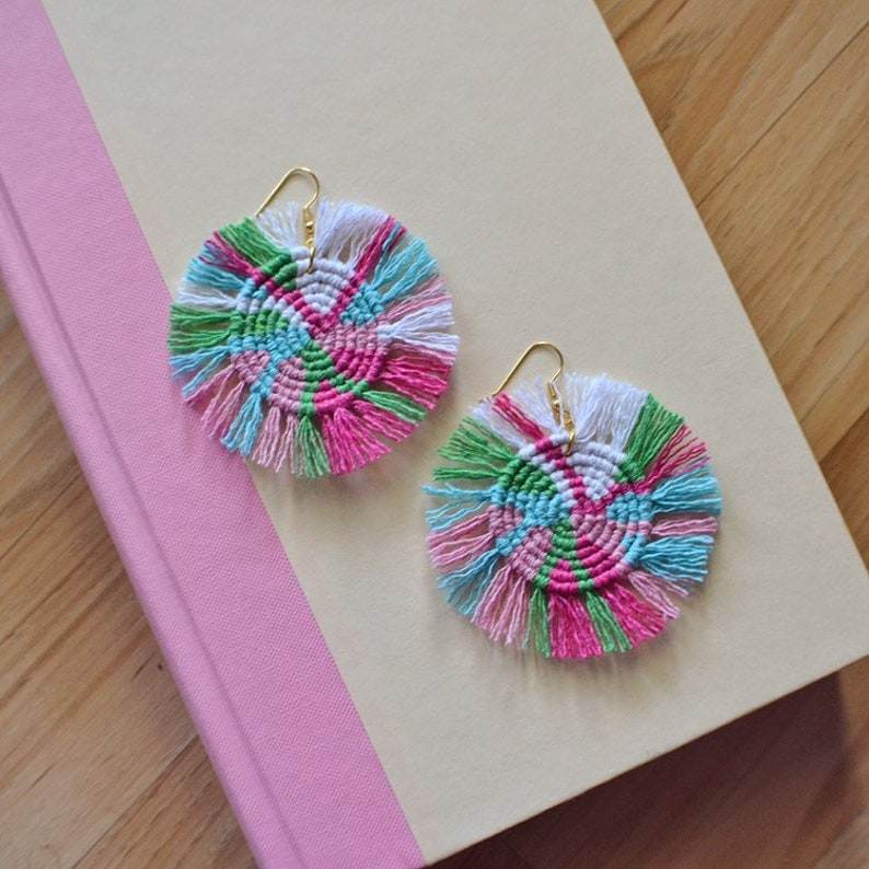 Colorful Macrame Statement Earrings  Boho Round Disc Fringe image 0