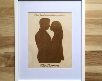 Laser Engraved Couple Silhouette Wood Sign with Last Name | I Have Found the One Whom My Soul Loves | Wedding Reception Newlywed Decor Gift