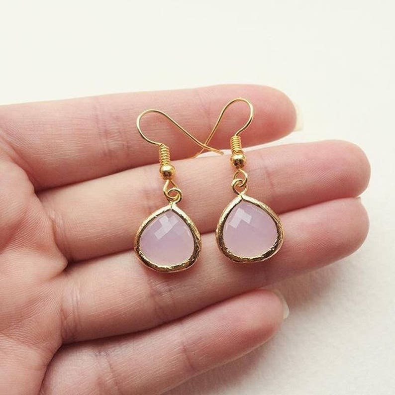 Pink Faceted Chalcedony Gold Plated Bezel Earrings  Bride image 0