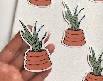Snake Plant Hand Drawn Sticker | Potted House Plants Stickers