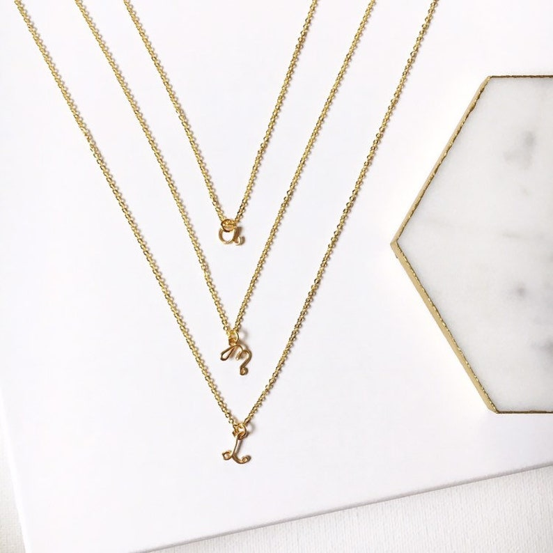 Tiny Initial Letter Layering Necklace  Personalized Gold or image 0
