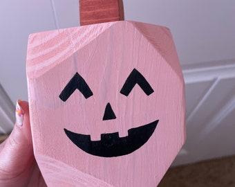 Modern Wood Jack o' Lantern Pumpkin Decor | Cute Face | Pink, Orange, White and More | Minimalist Seasonal Fall Decorative Mantle Accent