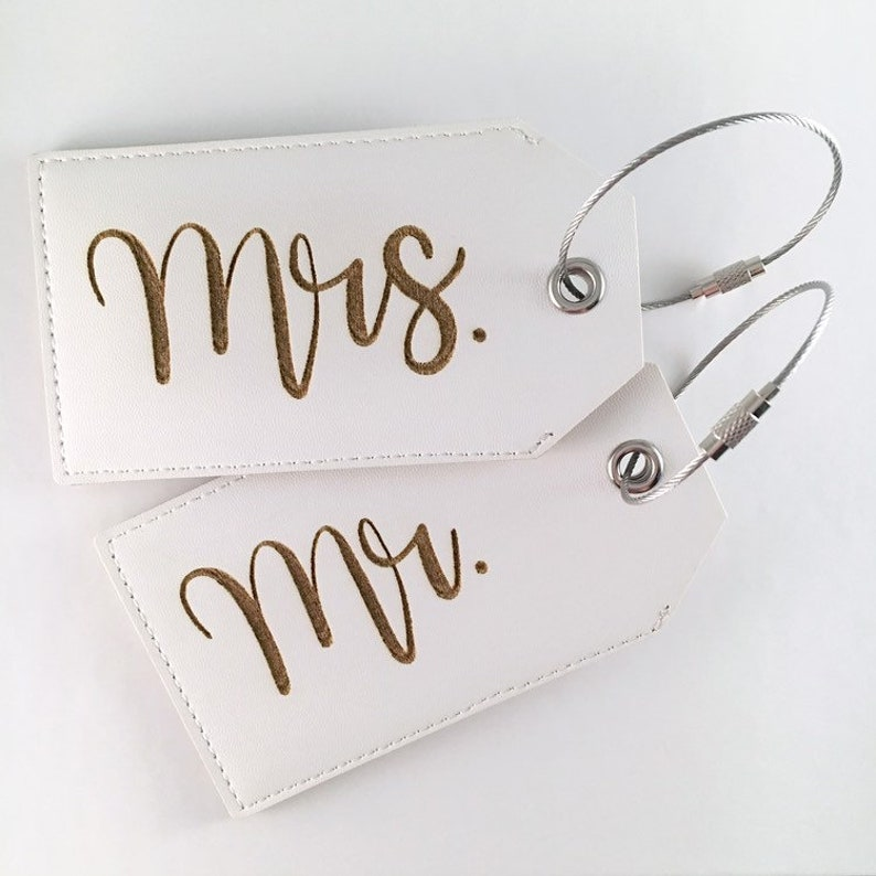 Mr. & Mrs. White Faux Leather Luggage Tags  Newlywed image 0