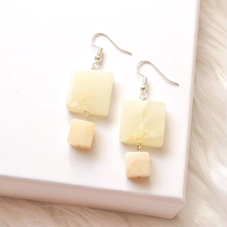 Golden Cream Quartz Earrings  Butter Quartz Crystals For image 0
