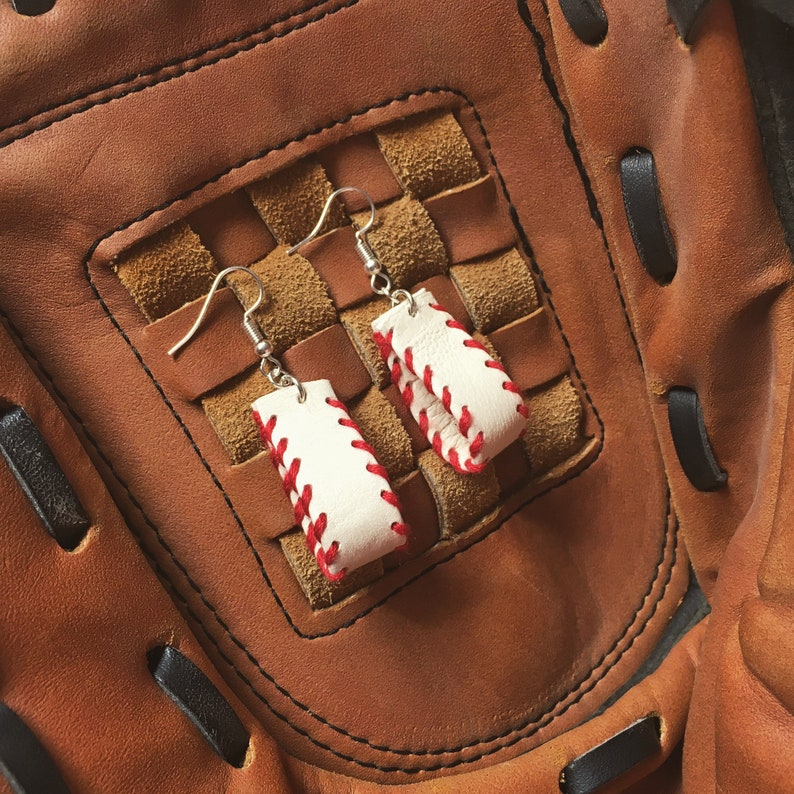 Leather Baseball Earrings  Red and White Hand Stitched Dangle image 0