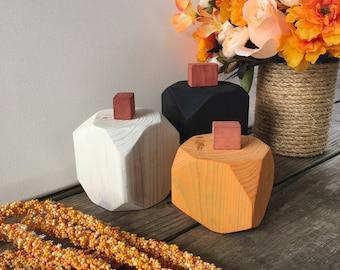 Modern Wood Pumpkin Decor, Black, Orange, and White Minimalist Seasonal Fall Decorative Mantle Accent