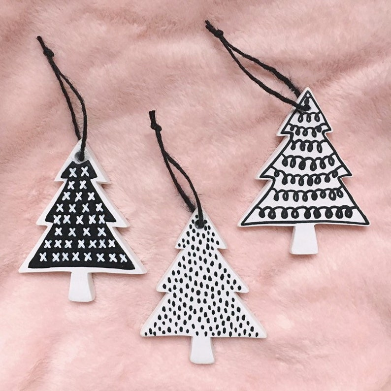 Modern Black & White Tree Ornament Set  Hand Painted Bisque image 0