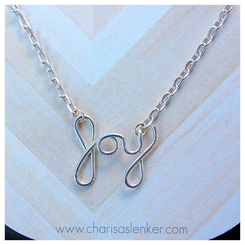 Silver Plated Joy Script Necklace image 0