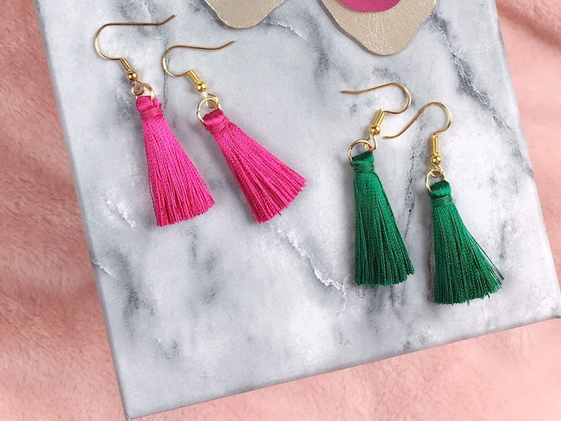 Colorful Tassel Earrings  Bright Jewel Toned Colors Simple image 0