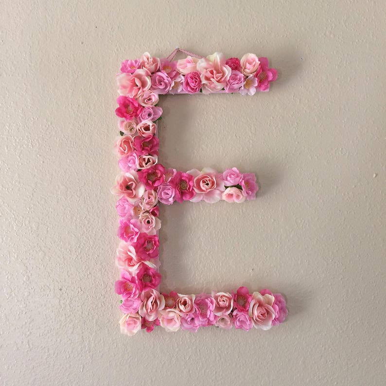 Extra Large Pink Flower Letter or Number Wall Hanging  Girly image 0