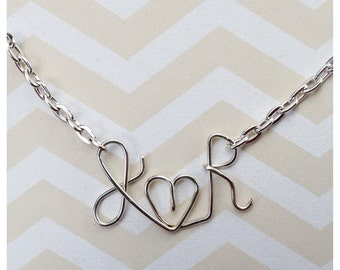 Custom Lover Pendant Necklace - Wire Worked Initials and Heart - Boyfriend and Girlfriend - Husband & Wife - Engaged - Newlyweds