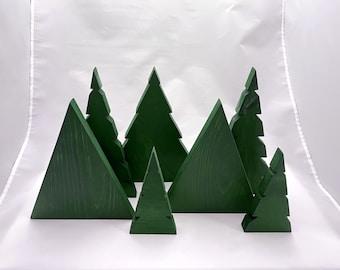 Modern Christmas Tree Set Holiday Decor, Minimal and Simple Mantle Decoration Trio,  Custom Painted Wood Trees