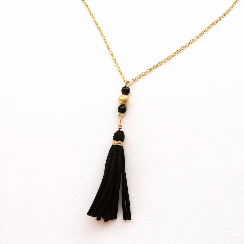 Custom Color Fringe Tassel Necklace with Beaded Detail  image 0