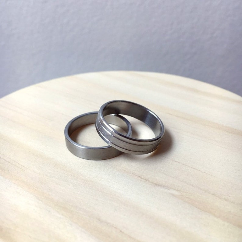 Men's Solid Stainless Steel Wedding Band  Masculine image 0