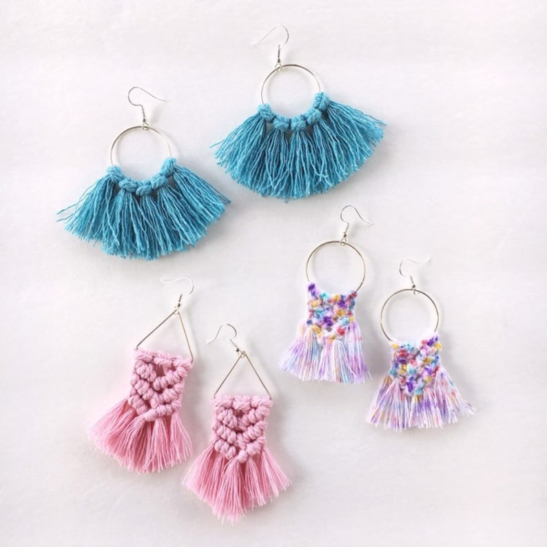 Various Color Macrame Earrings  Lightweight Statement Jewelry image 0