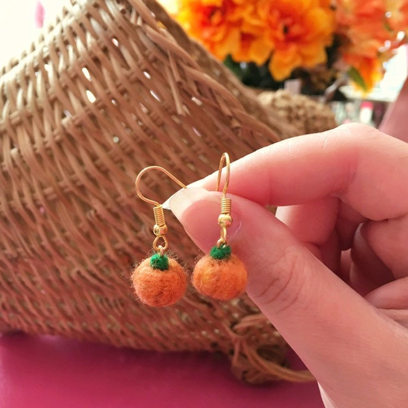 Tiny Felted Orange Pumpkin Earrings image 0