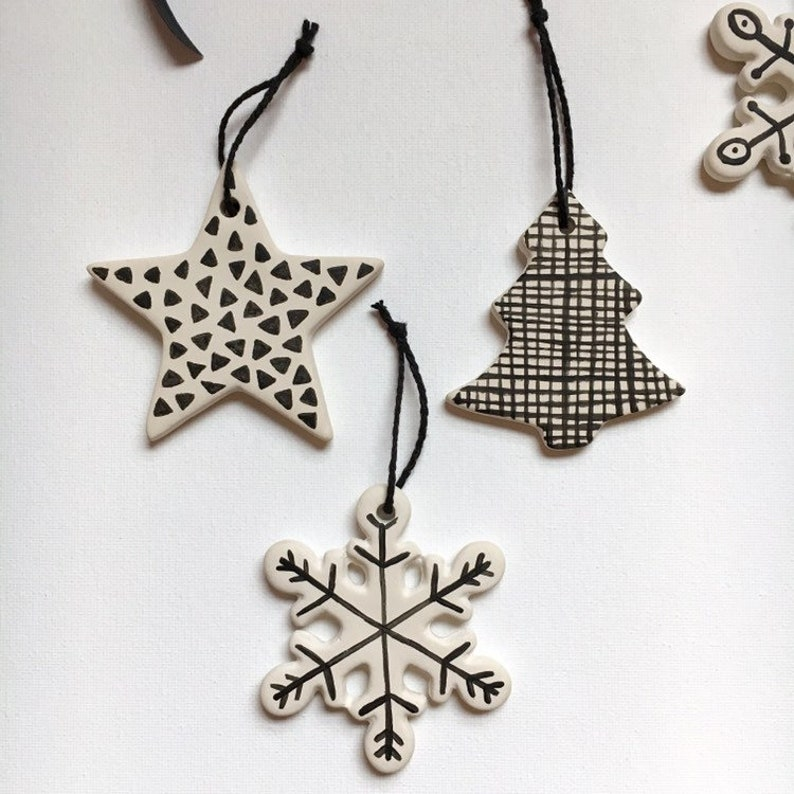 Modern Black & White Ornament Set  Hand Painted Bisque image 0