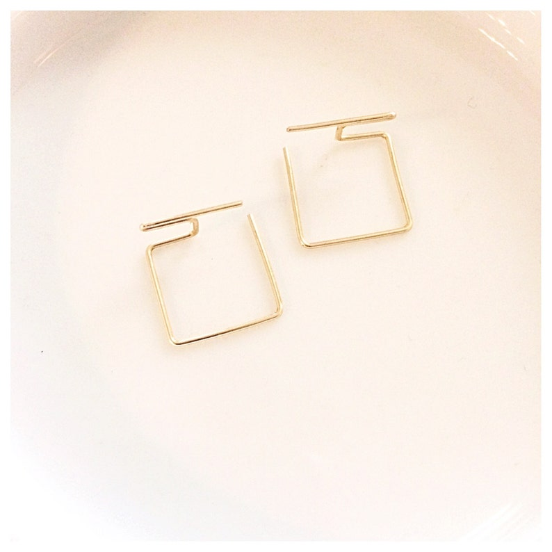 Ultra Modern Minimal Ear Jackets  Square Gold or Silver image 0