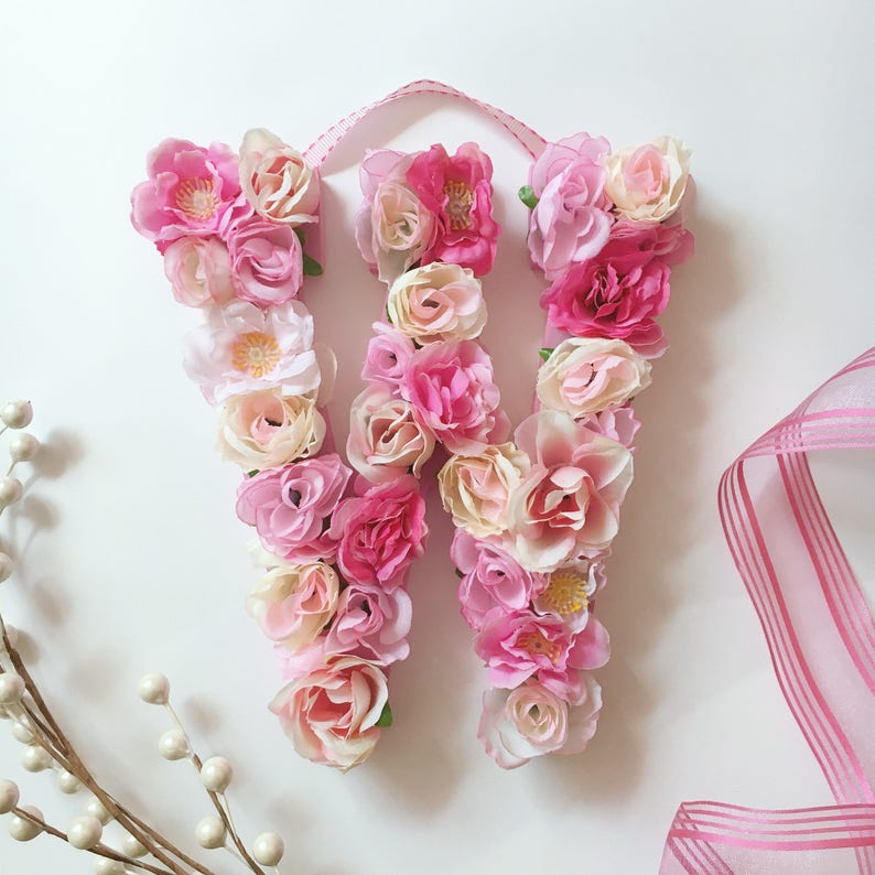 Pink Flower Letter or Number Wall Hanging  Floral Name Girls image 0