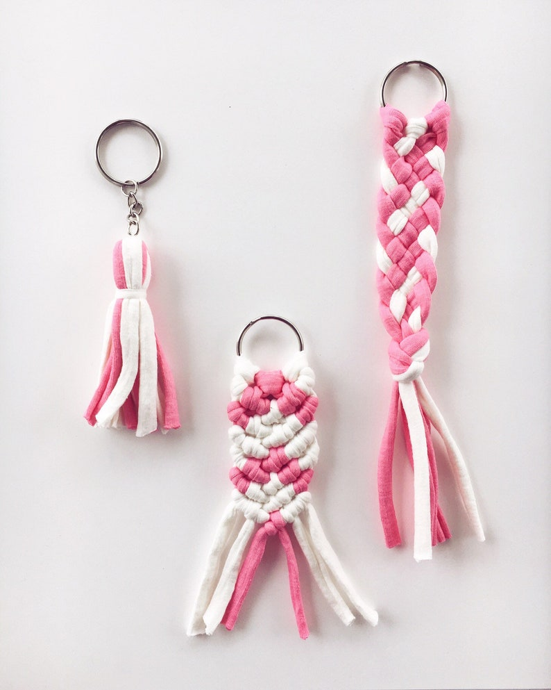 Pink and White Macrame Braid or Tassel Keychain  Recycled image 0