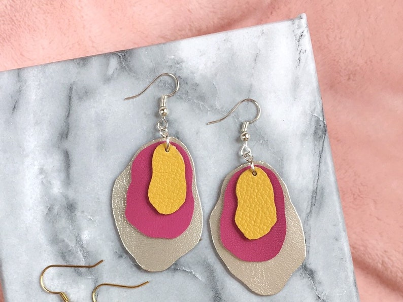 Abstract Bright Paint Color Swatch Leather Earrings  Modern image 0