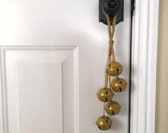 Gold Jingle Bell Swag Door Knob Hanger | Rustic Golden Cross Motif Bells Cluster | Modern Country Farmhouse Christmas Decor