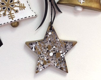 Modern Black, White, and Gold Pollock Style Star Ornament   Hand Splatter Painted Bisque Ceramic   Minimalist Christmas Ornaments