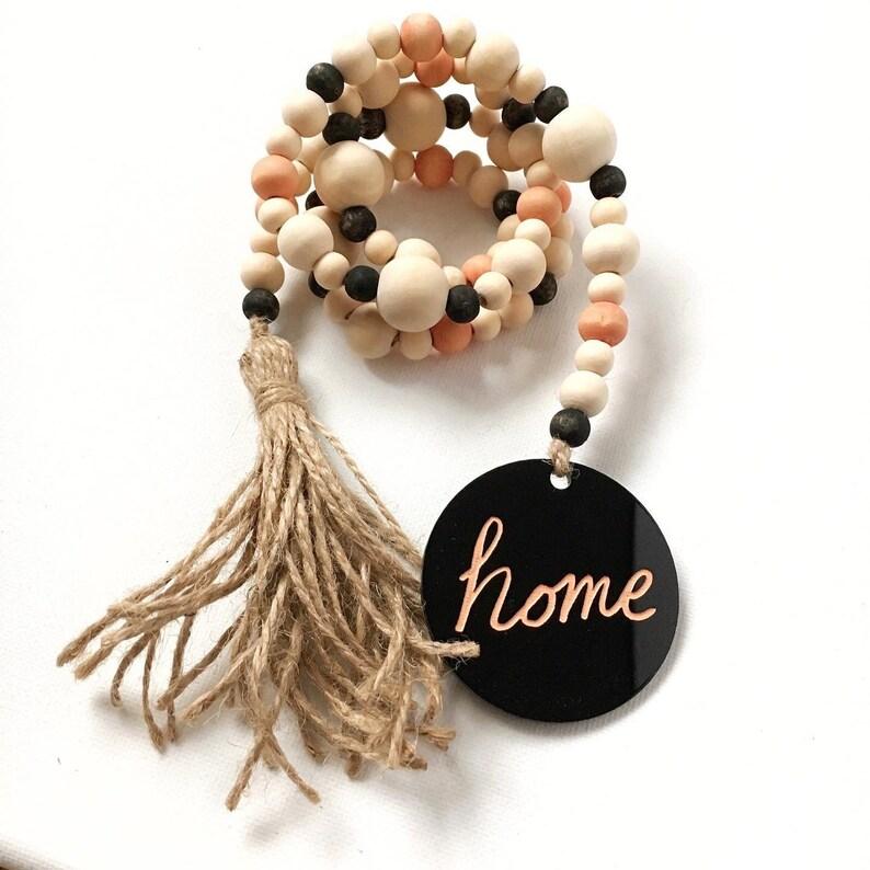 Orange & Black Wood Bead Garland with Home Tag and Jute Tassel image 0