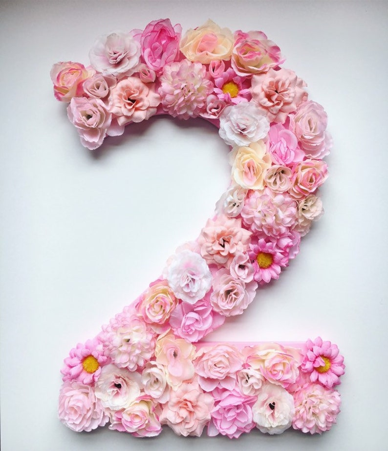 Large Faux Flower Number Wall Hanging  Baby Girl Nursery image 0