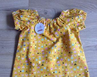Simple Cotton Dress - girls age 4-5 - mustard geometric