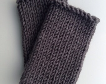 wool mix wristwarmers . hand knit . Pebble grey