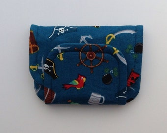 NEW pirate children's fabric wallet / purse . parrots, swords, flags etc with blue lining . kids coin purse .