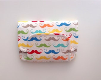 BIG fabric wallet / purse . bright geek chic moustache print with white lining .