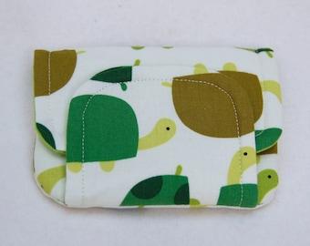 tortoises! children's fabric wallet / purse . green tortoises with dark green lining . kids coin purse . kids wallet