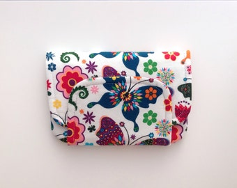 BIG fabric wallet / purse . bright butterfly print with purple lining .