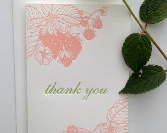 Set of 6 - Letterpress Cards - Thank You