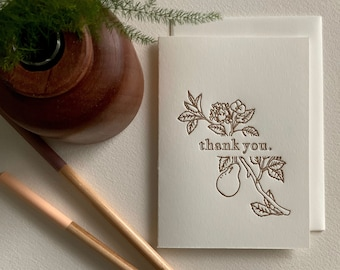 Letterpress Thank You Card - Flowering Pear Tree Branch