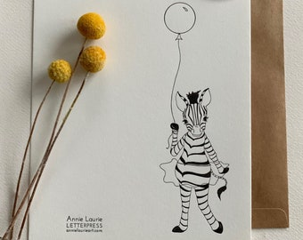 Letterpress Greeting Card Sets - Zebra with Balloon