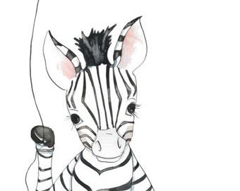 Zebra with Balloon - 10x20 Watercolor Print