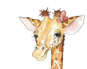 Giraffe with Flower Bouquet - 10x20 Watercolor Print