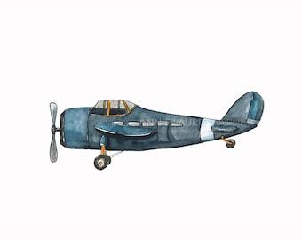 "Vintage Airplane - 8x10"" Watercolor Print - Navy and Orange Airplane, Aviation, Plane"