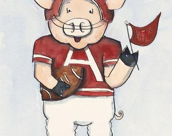 "Arkansas Razorback Football ""Piggie"" - 9x12"" Watercolor Fine Art Print"