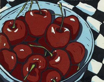 """Oh So Sweet (Cherries)  -  10x10"""" Linocut Print"""