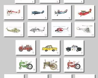 """Vintage Prints - 8x10"""" Watercolor Prints (SET OF 6)  -  Aviation, Trucks, Tractors"""