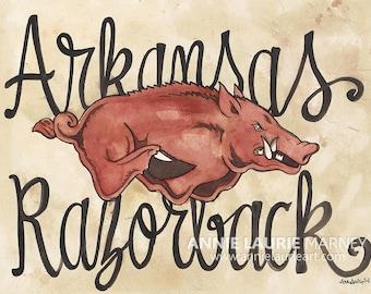 "Arkansas Razorback - 11x14"" Watercolor Print"
